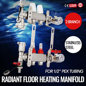 2 branch Pex Radiant Floor Heating Manifold Set Vertical Stainless Leak proof