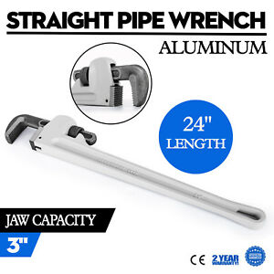 24 Aluminum Straight Pipe Wrench Heavy Duty Pipe Monkey Plumbing Wrench 3 Jaw