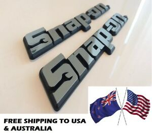 usa Aus Offer Two Snap On Tools 3d Chrome Badges Tool Box Sticker Decal