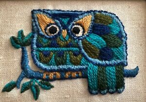 Needlepoint Art Blue And Green Owl In Picture Frame Small