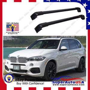 Black Top Roof Rack Fit For Bmw 2014 2019 X5 Baggage Luggage Cross Bar Crossbar