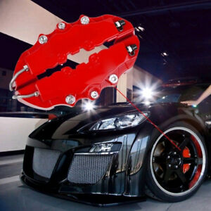 3d Red 4pcs Style Car Front Rear Universal Disc Brake Caliper Covers