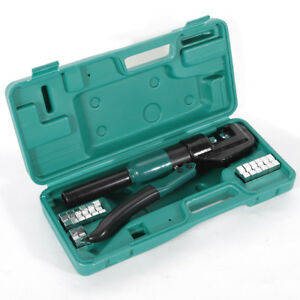 10 T Hydraulic Wire Battery Cable Lug Terminal Crimper Crimping Tool Us W Case
