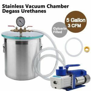 Gallon Stainless Steel Vacuum Degassing Chamber Silicone Kit W 5 Cfm Pump Hose