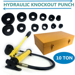 10 Ton 6 Die Hydraulic Knockout Punch Driver Kit Hole Hand Tool Conduit Tool Usa