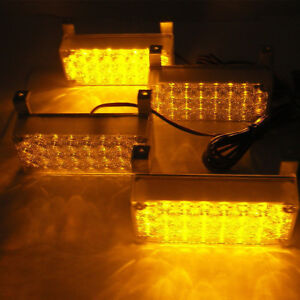 4 X 22 Amber Led Light Head Emergency Hazard Warning 12v Grille Strobe Lights