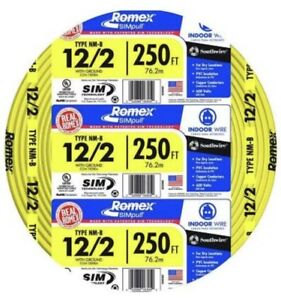Southwire Electrical Wire Romex Simpull Cu 12 2 Nm b W g 250 Ft 12 gauge Yellow