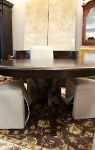 Stickley Ebony Satin Finish Round Dining Table With Leaf