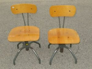 Pair Of Machine Age Industrial Work Drafting Stools Chairs Adjustable Height
