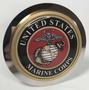 Usmc Marines Round Emblem Tow Hitch Cover Stainless Steel 2 Trailer Plug