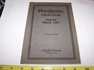 Original Fordson Tractor Parts Book Price List Hit Miss Engine Steam Oiler 1922