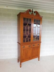 Biggs Federal Hepplewhite Style 1pc Mahogany Banded Cabinet 90 H X 40 W