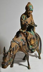 15 In Antique Chinese Asian Oriental Man Riding Donkey Metal Statue Sculpture