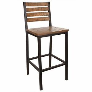 New Elliot Steel Bar Stool With Distressed Wood Seat And Back