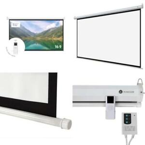 Projector Screen Motorized 110 Hd 16 9 With Remote Control 160 Viewing Angle