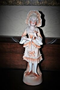 Antique German Victorian Beautiful Piano Baby Girl Doll Bisque Figurine