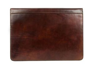 Leather Portfolio Dark Brown Leather Organizer Document Holder Time Resis