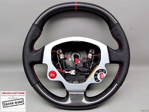 Ferrari F430 Coupe Challenge Red Ring Perforated Thick Carbon Steering Wheel