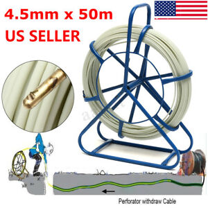 50mx4 5mm Fish Tape Fiberglass Wire Cable Running Rod Duct Rodder Puller Tool Us