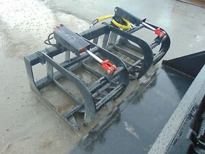Brand New 66 Skid Steer Root Grapple Rake Bucket Twin Cylinder Attachment