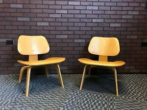 Eames For Herman Miller Lcw Molded Plywood Lounge Chairs Pair Calico Ash