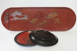 Antique Japanese Lacquer Tray Two Dishes