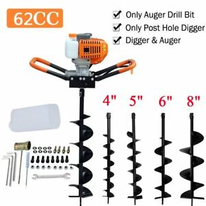 Auger 62cc Post Hole Digger Gas Powered Auger Borer Fence Ground Drill 4 Bits Be
