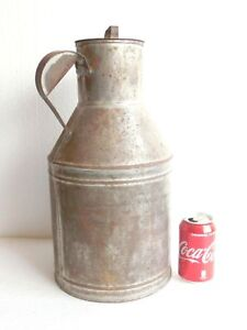 Antique Vtg Galvanized 3 Gallons Milk Pail Can Jug Bucket W Lid