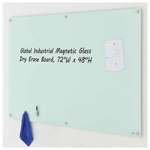 Magnetic Glass Dry Erase Board White 72 X 48 Lot Of 1