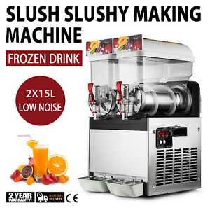 2 X 15l Tank Frozen Drink Slush Slushy Making Machine Juice Smoothie Ice Maker