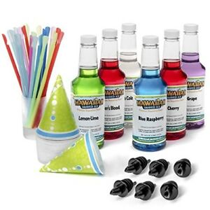 Shaved Ice Syrups Cherry Grape Blue Raspberry Tiger s Blood Lemon lime 6 pack