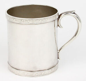 Tiffany Co Baby Cup Silver Plate Soldered Christening Mug 1895 Antique