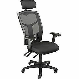 Multifunction Office Chair With Adjustable Headrest Mesh Back Fabric