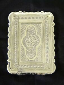 Antique Victorian Silver Card Case Birmingham Hilliard Thomason Circa 1872