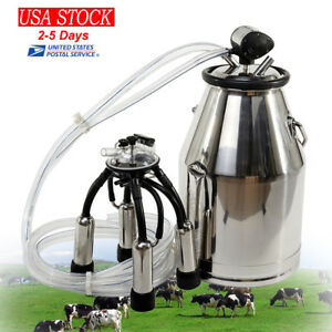 Cow Milker Milking Bucket Dairy Portable Tank Barrel 304stainless Steel Milk 25l