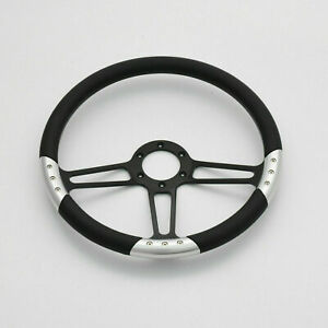 14 Billet Steering Wheels Black Full Wrap Ford Gm Corvair Impala Chevy Ii