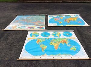 3 Vintage Nystrom Pull Down School Wall Maps 2 World 1 Europe Very Good