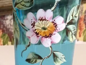 Antique French Aqua Decorative Drinking Glass Enamel Painted Flowers Small 5
