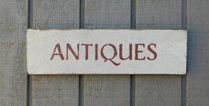 Primitive Vintage Wood Sign Or Shelf Sitter Reproduction Antiques