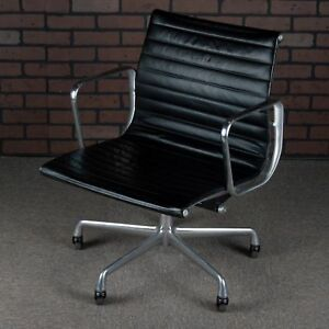 Eames Aluminum Group Office Chair For Herman Miller Black Leather