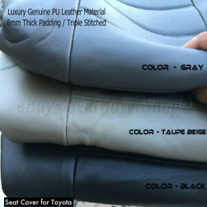 To Automotive 4pc Front 2 Bucket Seat Cover Pair 100 Pu Leather Xl 10mm Thick