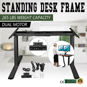 Electric Sit stand Standing Desk Frame Dual Motor Steel 3 stage Us Stock