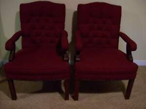 Pair 2 Kimball Tufted Nailhead Trim Armed Guest Side Chairs Original 2000 Each