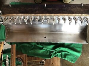 16 Tap Stainless Steel And Wood Beer Tower