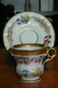 Hand Painted 1920 S Floral Silesia Cup Saucer Roses Violets Forget Me Not