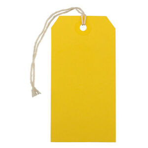 Jam Paper Gift Tags With String Medium 4 3 4 X 2 3 8 Yellow 1000 carton
