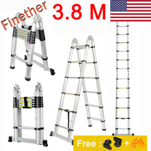 12 5ft Foldable Aluminum Telescoping Telescopic Extension Ladder Multi purpose S