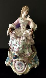 Antique French Charles Levy Porcelain Figurine Of Maiden