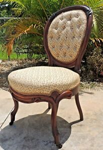 Antique French Victorian Tufted Carved Mahogany Balloon Back Parlor Chair 3149