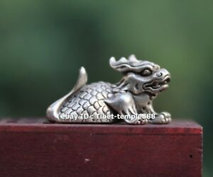4 Cm Chinese Miao Silver Foo Dog Lion Dragon Fish Wealth Fengshui Animal Statue
